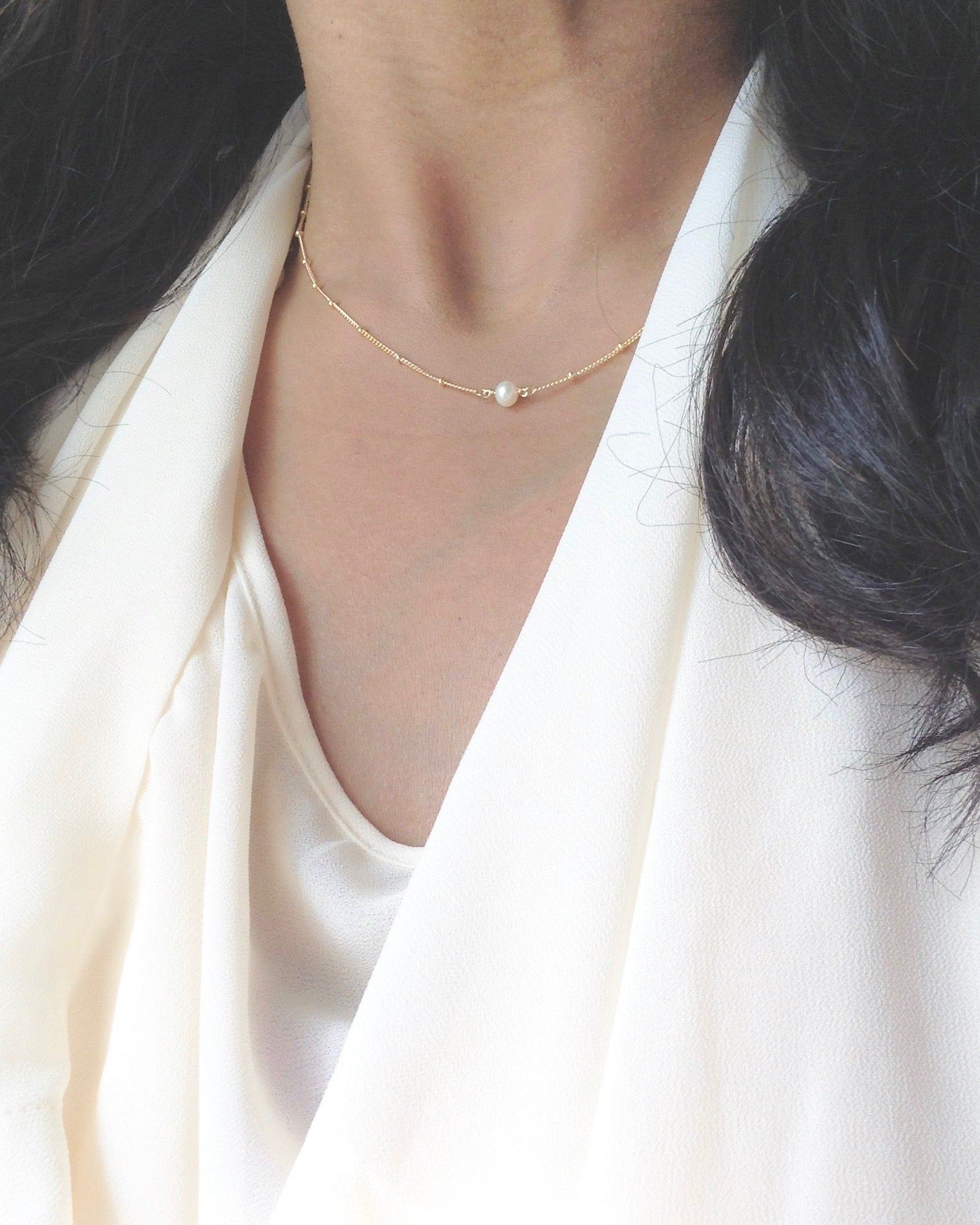 Delicate Pearl Necklace in Gold Filled or Sterling Silver | Minimal Pearl Necklace | IB Jewelry