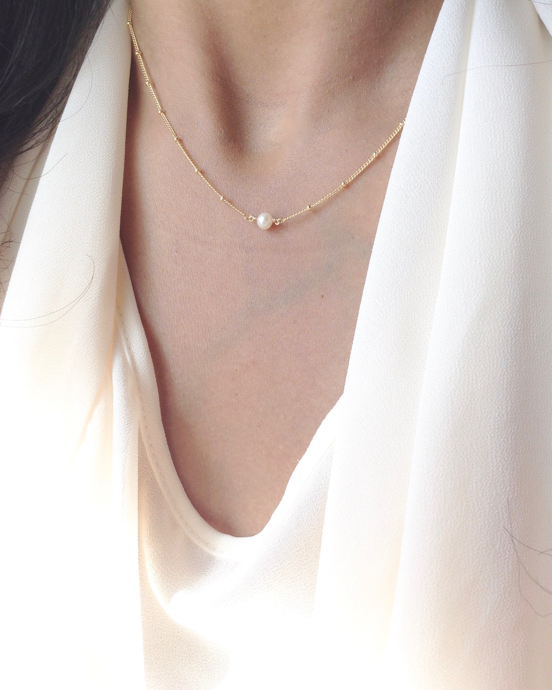 Simple Delicate Pearl Necklace | Dainty Everyday Necklace | IB Jewelry