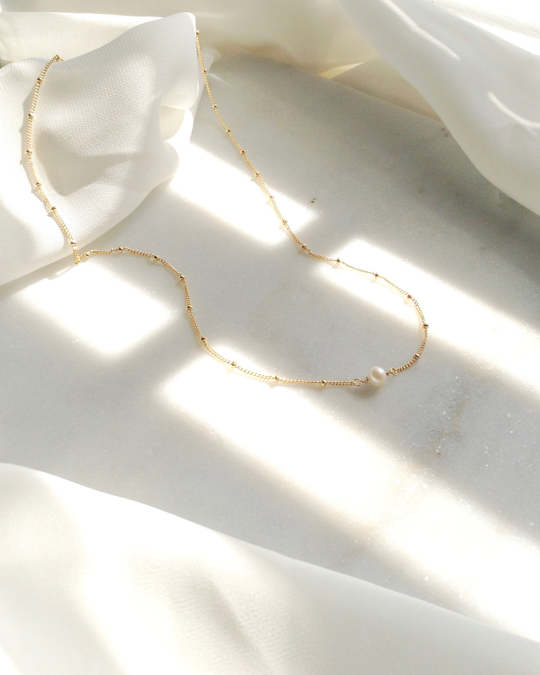 Dainty Pearl Necklace in Gold Filled or Sterling Silver | IB Jewelry