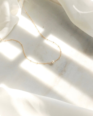 Freshwater Pearl Small Dainty Necklace | Simple Everyday Necklace | IB Jewelry