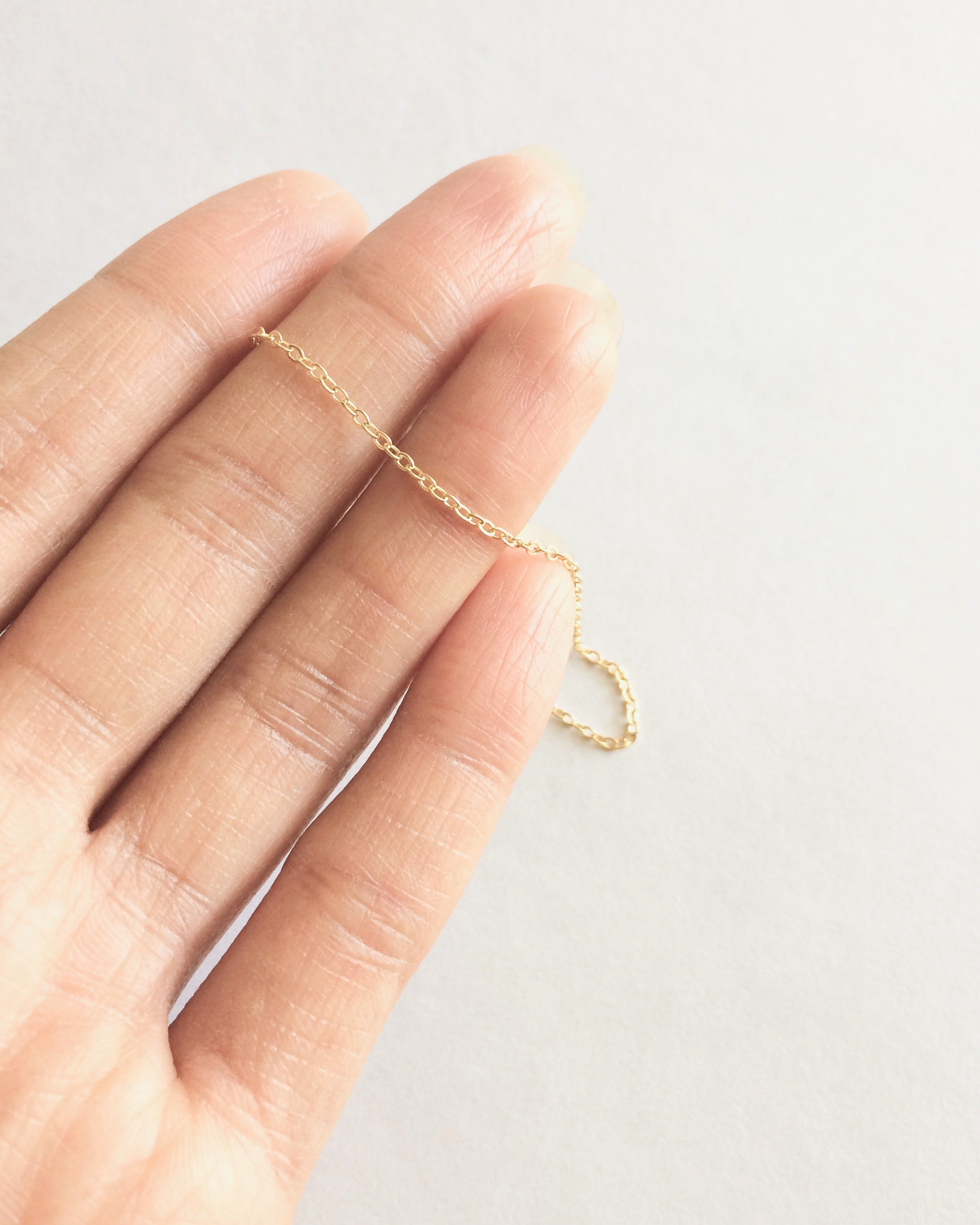 Minimalist Delicate Plain Thin Chain Bracelet in Gold Filled or Sterling Silver | IB Jewelry