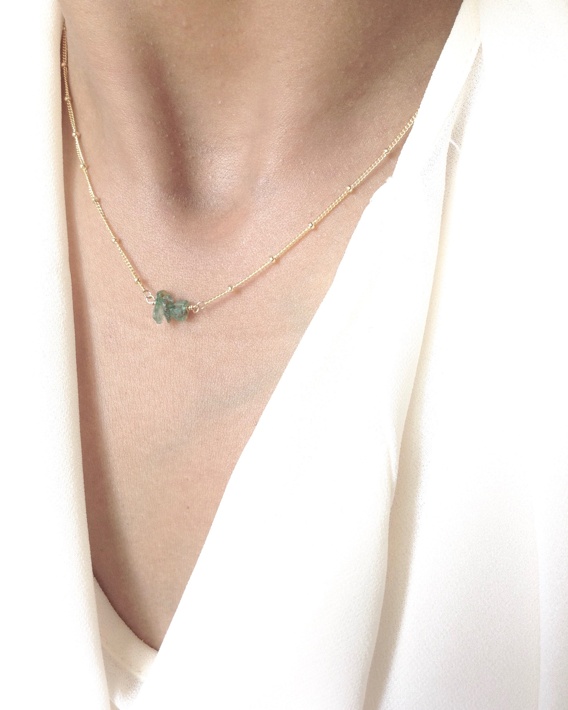 Dainty Raw Emerald Gemstone Bar Necklace in Gold Filled or Sterling Silver | IB Jewelry