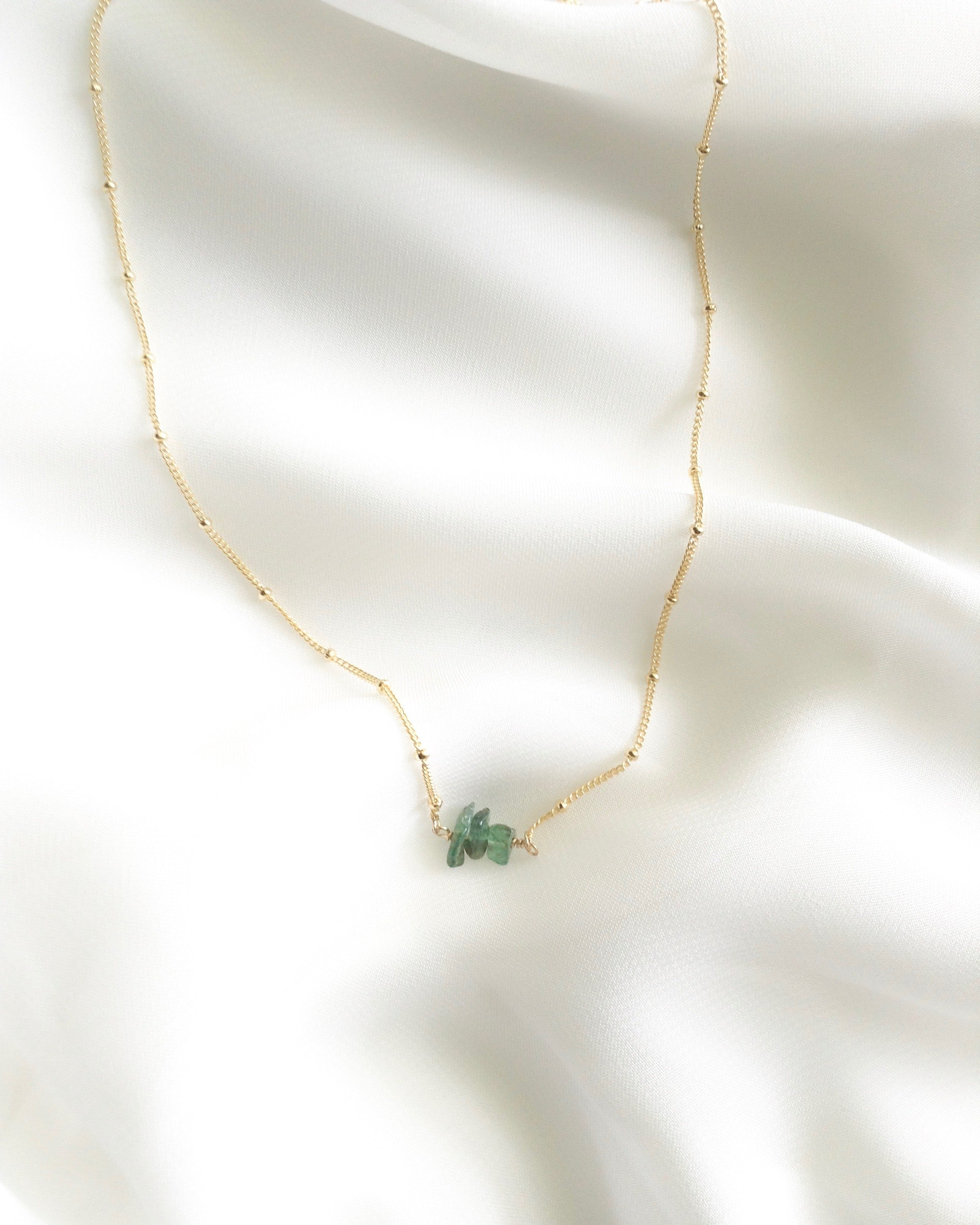 Raw Emerald Tiny Gemstone Necklace in Gold Filled or Sterling Silver | IB Jewelry