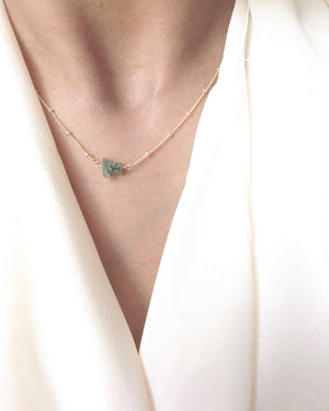 Dainty Emerald Minimalist Gemstone Necklace in Gold Filled or Sterling Silver | IB Jewelry