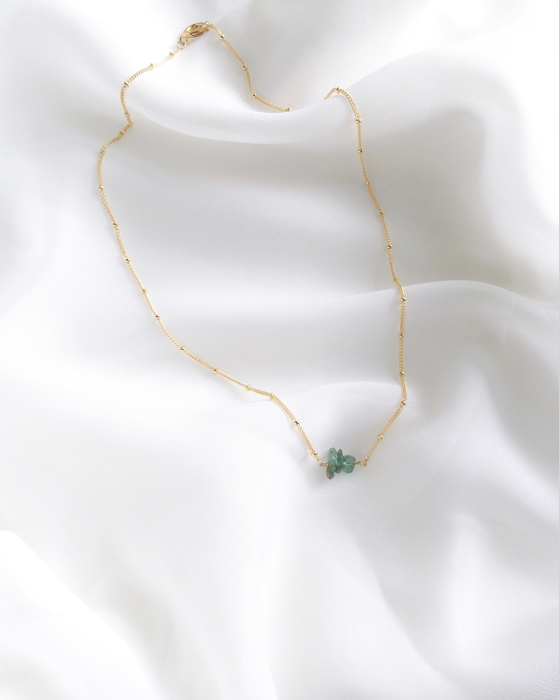Genuine Emerald Raw Gemstone Necklace in Gold Filled or Sterling Silver | IB Jewelry