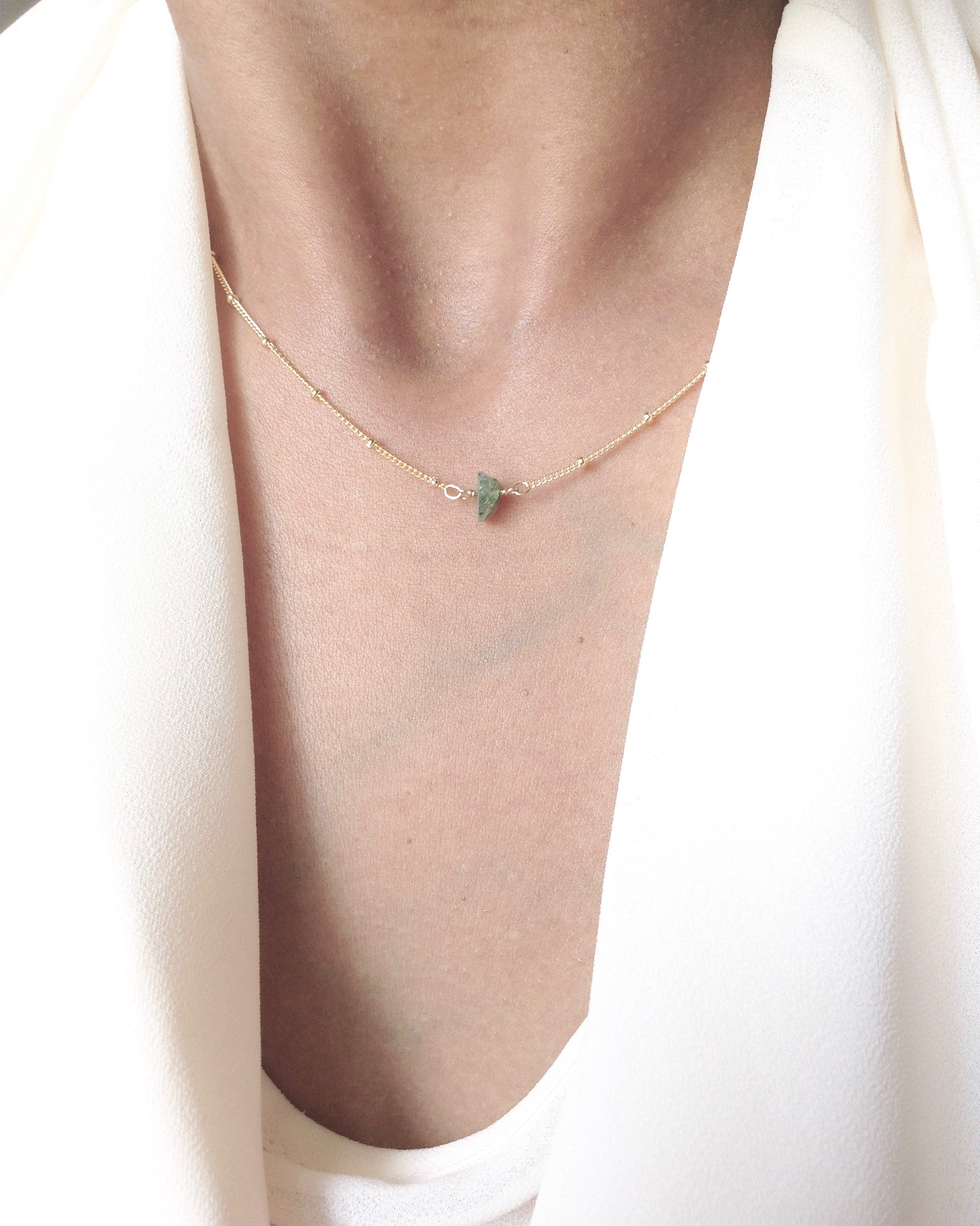 Tiny Raw Emerald Solitaire Necklace in Gold Filled or Sterling Silver | Simple Delicate Necklace | IB Jewelry