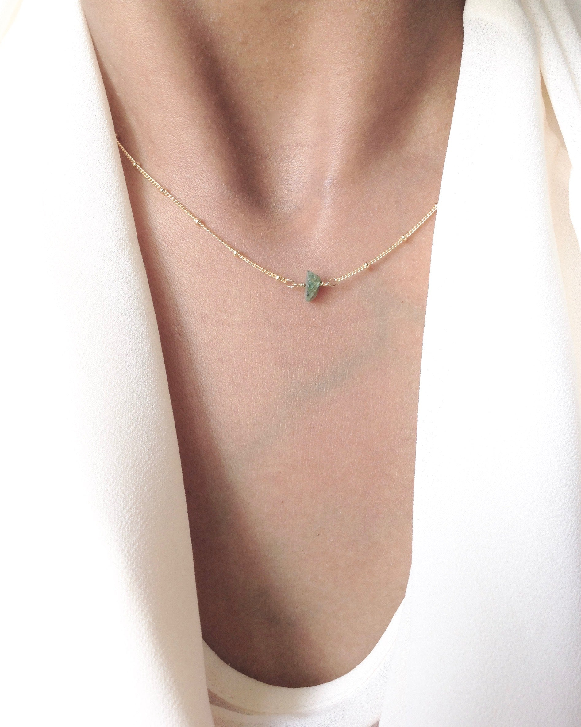 Delicate Raw Genuine Emerald Necklace in Gold Filled or Sterling Silver | IB Jewelry