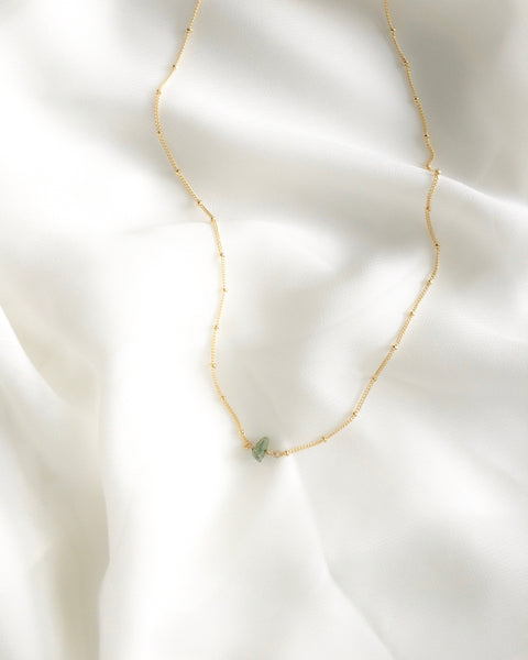 Minimalist Raw Emerald Satellite Chain Necklace | Raw Emerald Necklace | IB Jewelry