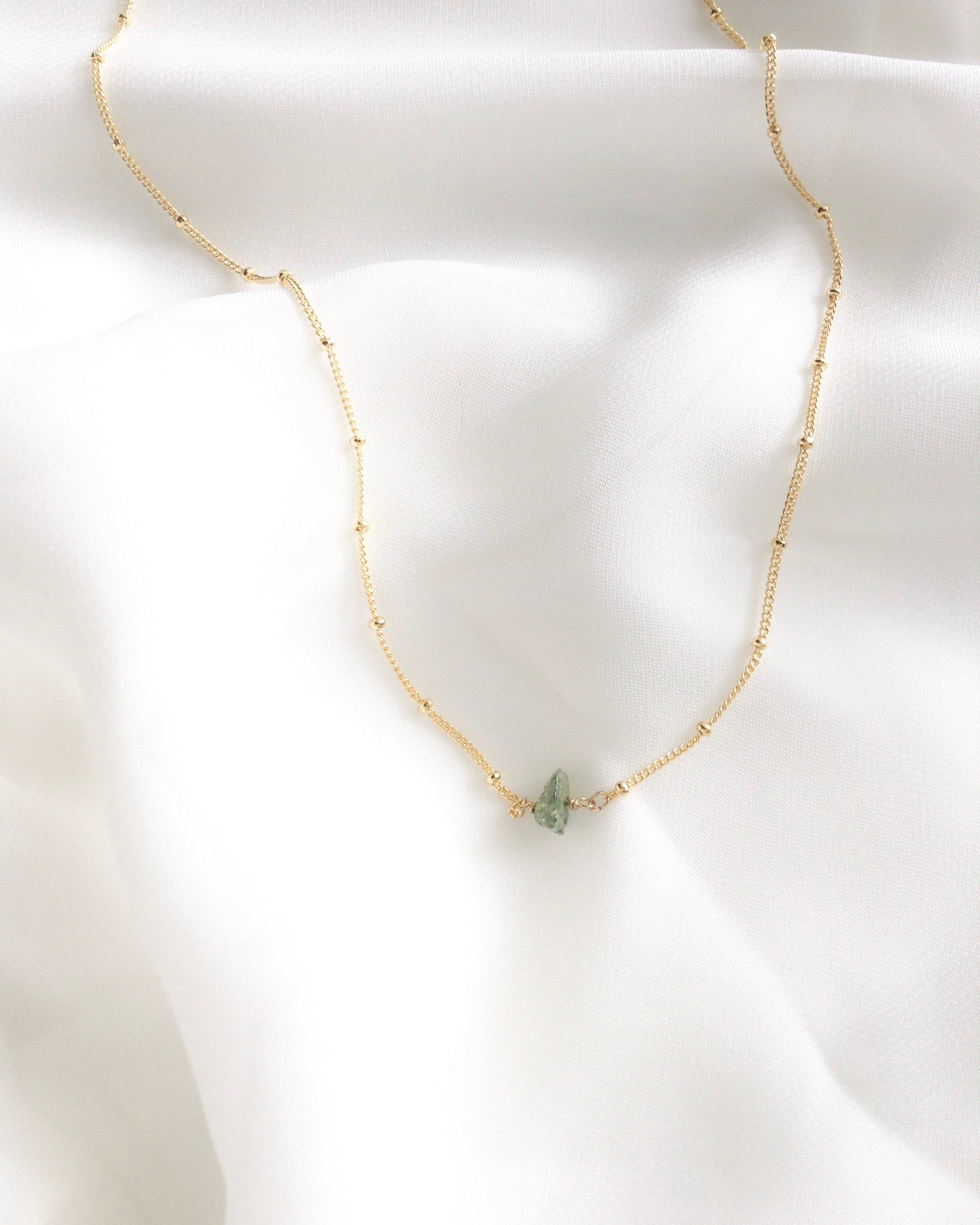 Minimalist Emerald Necklace in Gold Filled or Sterling Silver | IB Jewelry