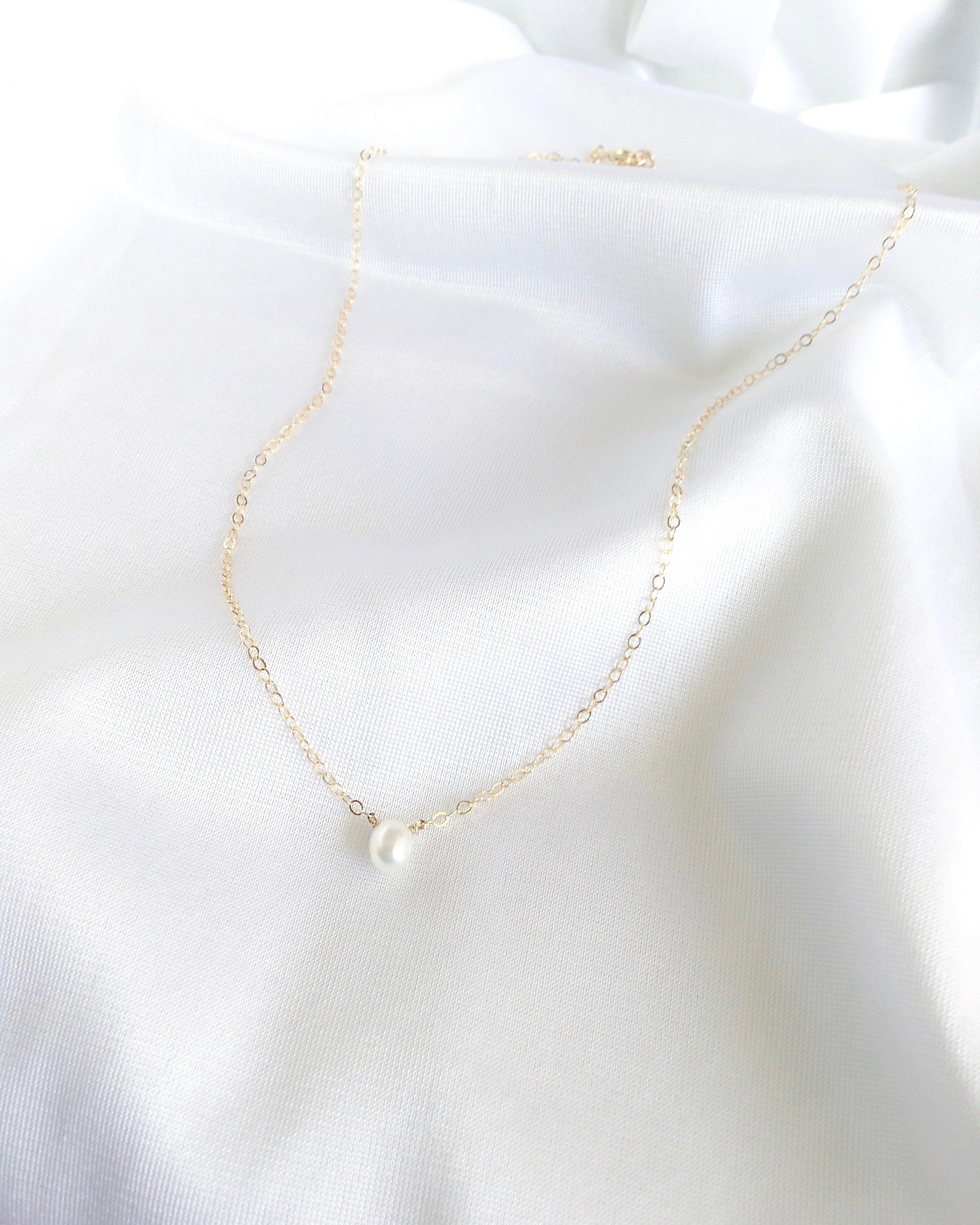 Freshwater Pearl Necklace | Simple Dainty Necklace | IB Jewelry