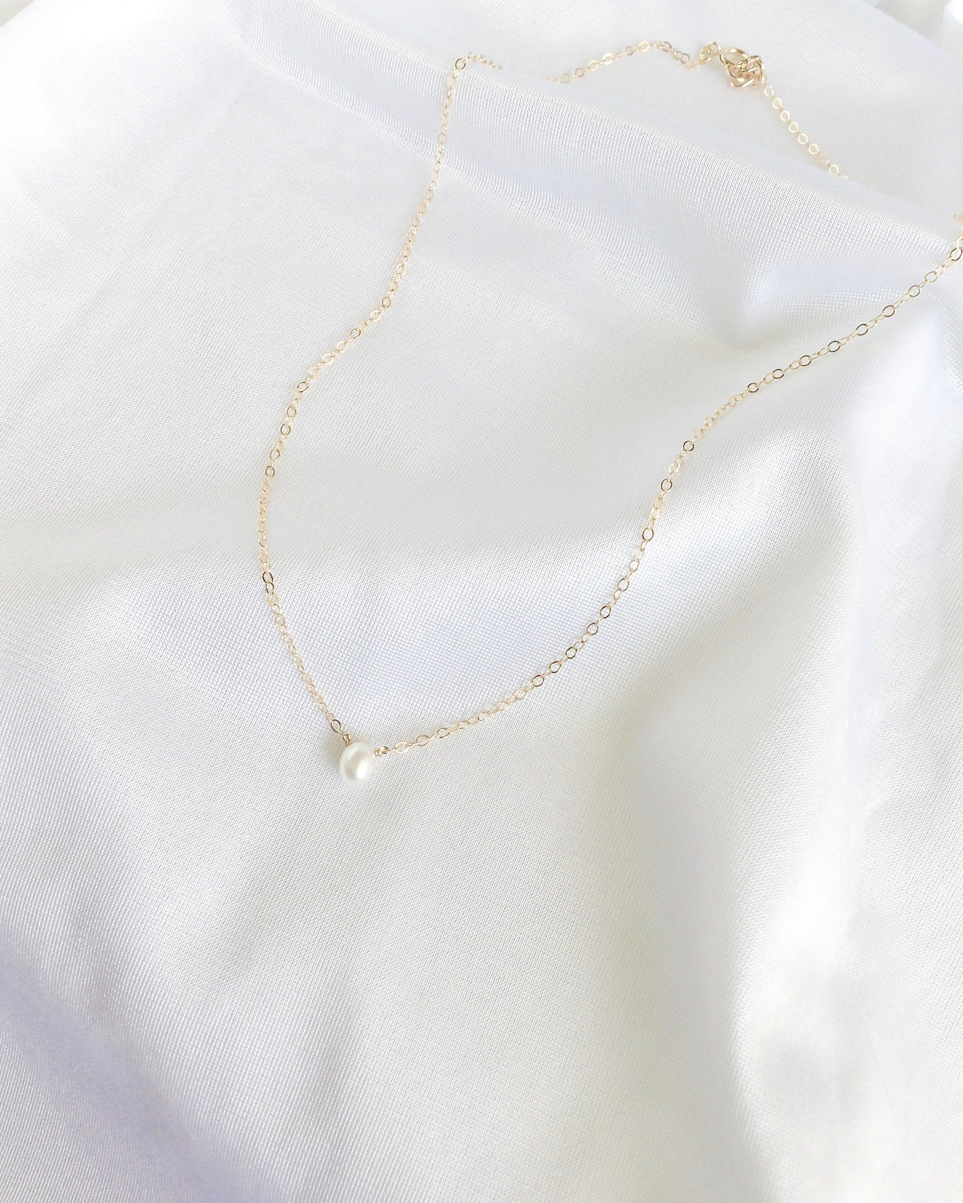 Simple Small Pearl Necklace In Gold Filled or Sterling Silver | Dainty Jewelry | IB Jewelry