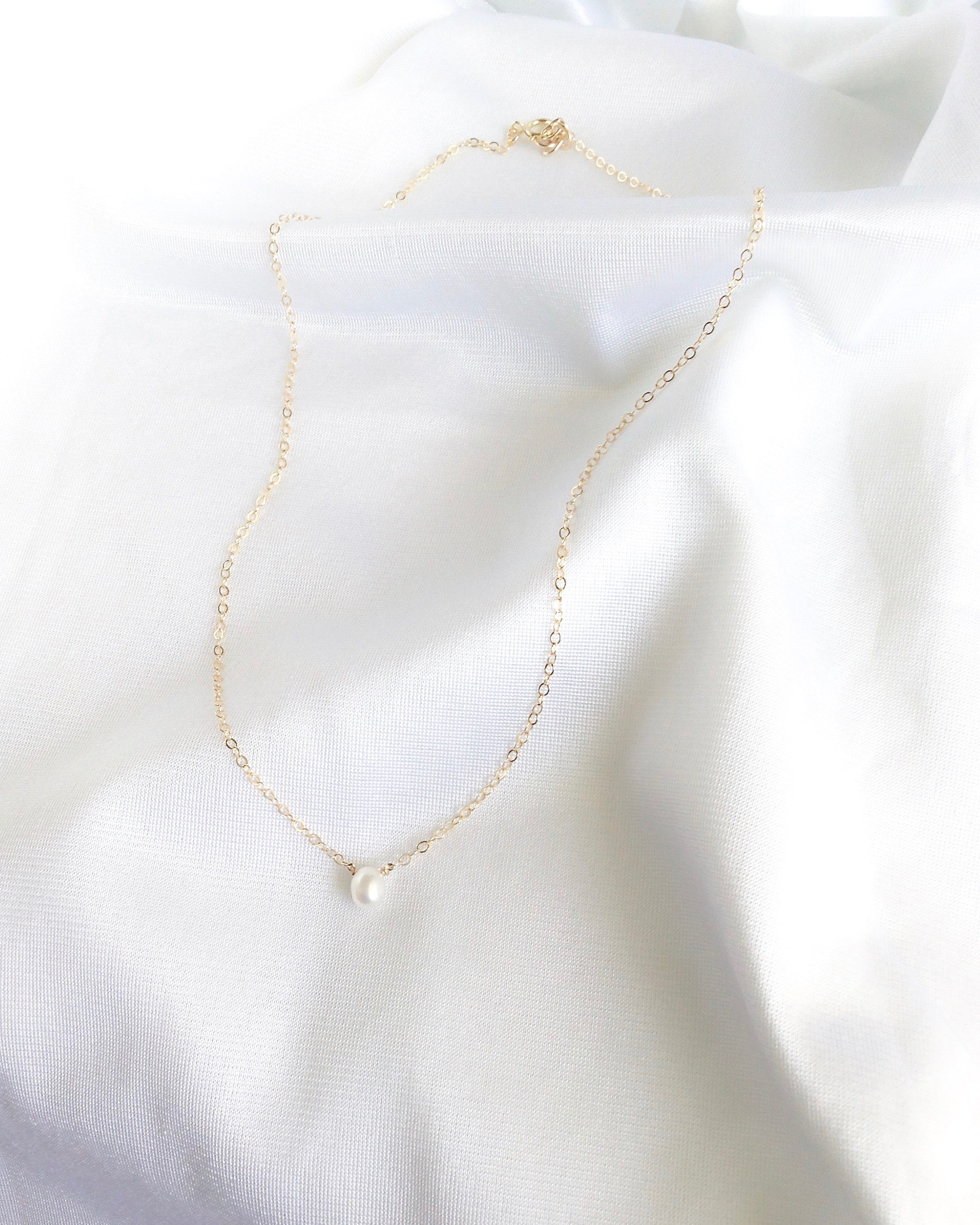 Dainty Pearl Necklace in Gold Filled or Sterling Silver | Simple Delicate Jewelry | IB Jewelry