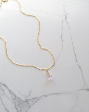 Delicate Small Rose Quartz Teardrop Necklace | IB Jewelry
