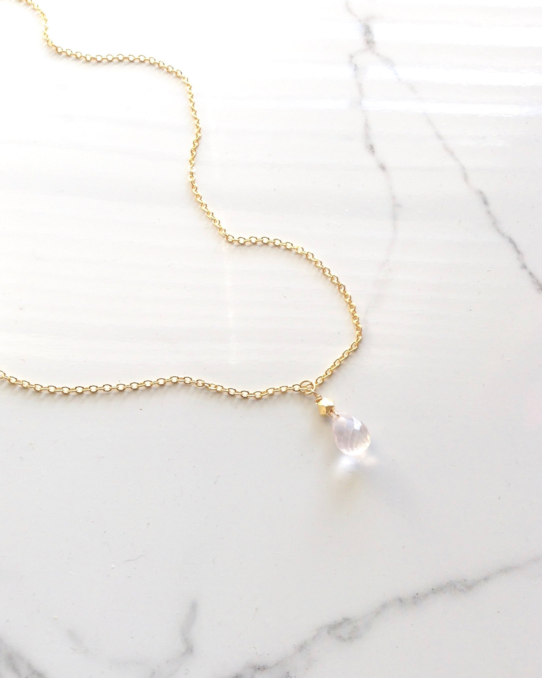 Rose Quartz Encouragement Necklace Gift | Meaningful Necklace Gift | IB Jewelry