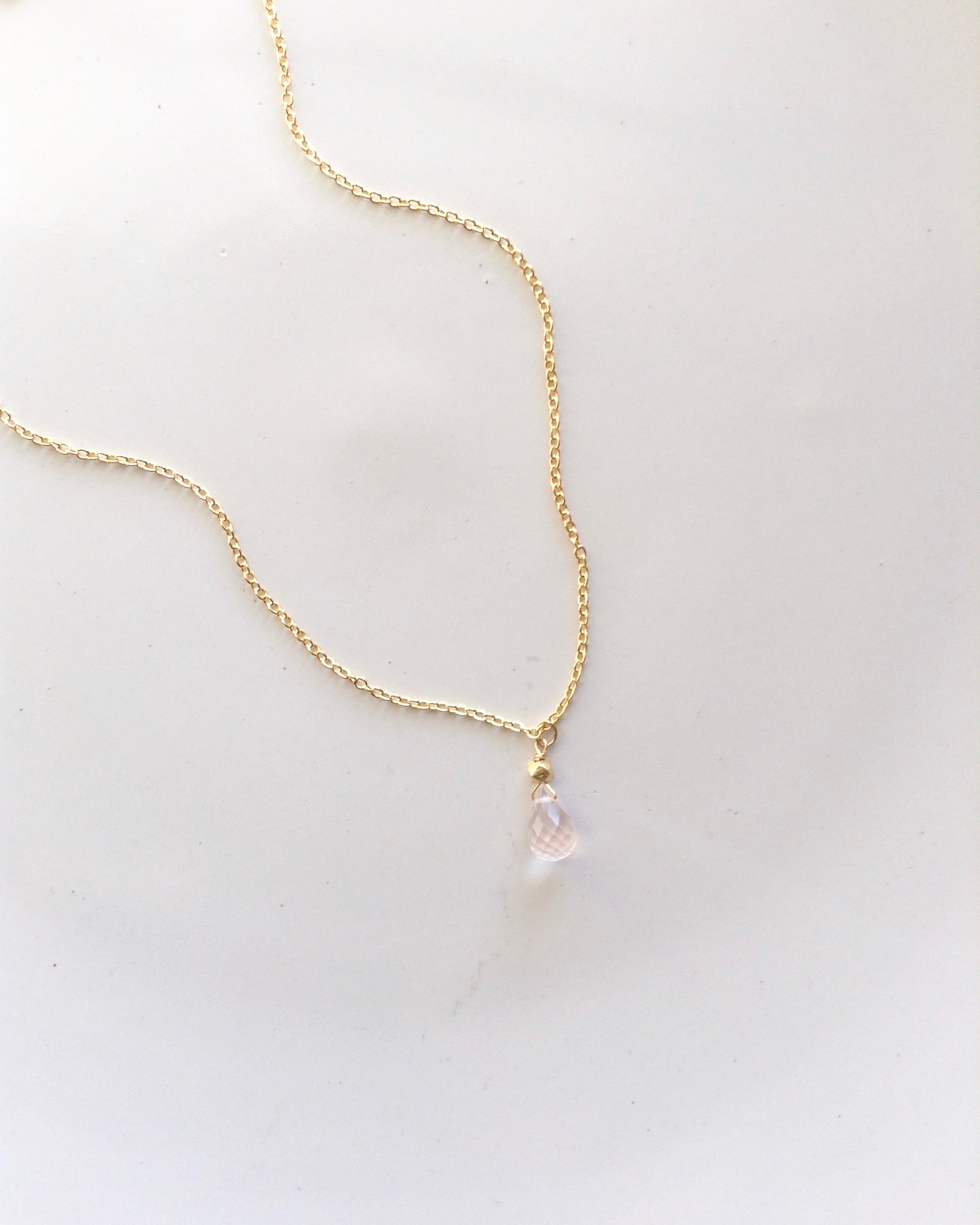 Delicate Rose Quartz Necklace in Gold Filled or Sterling Silver | Appreciation Necklace Gift | IB Jewelry