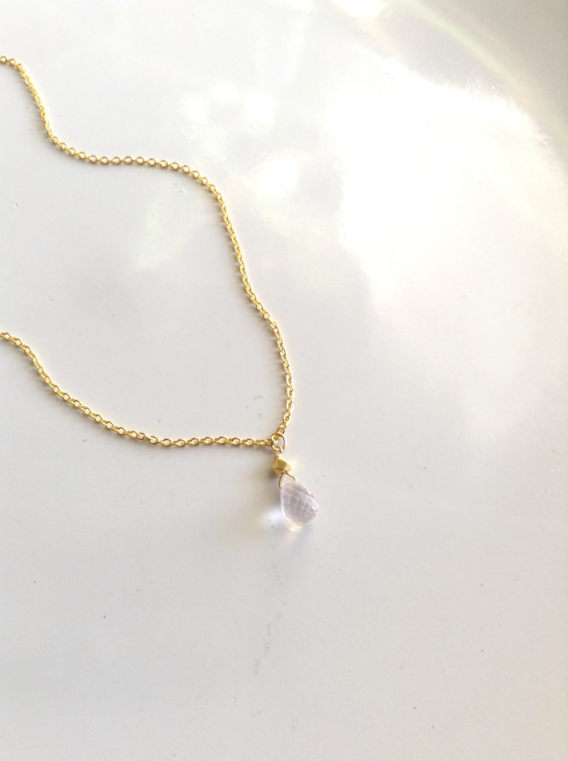 Sister In Law Gift Small Rose Quartz Teardrop Necklace | Meaningful Necklace | IB Jewelry