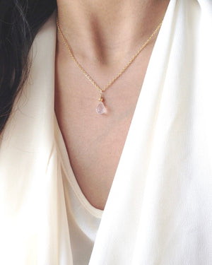 Rose Quartz Dainty Necklace Gift | Thoughtful Jewelry | IB Jewelry