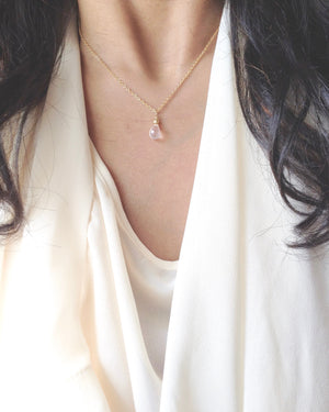 Rose Quartz Minimal Simple Everyday Necklace Gift in Gold Filled or Sterling Silver | IB Jewelry