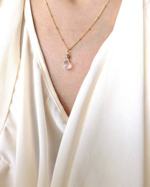 Dainty Simple Rose Quartz Satellite Chain Necklace