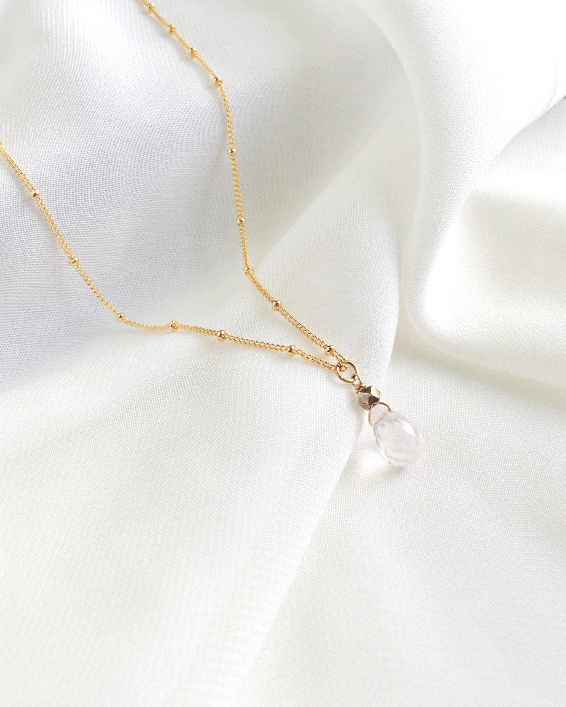 Rose Quartz Crystal Necklace in Gold Filled or Sterling Silver | IB Jewelry