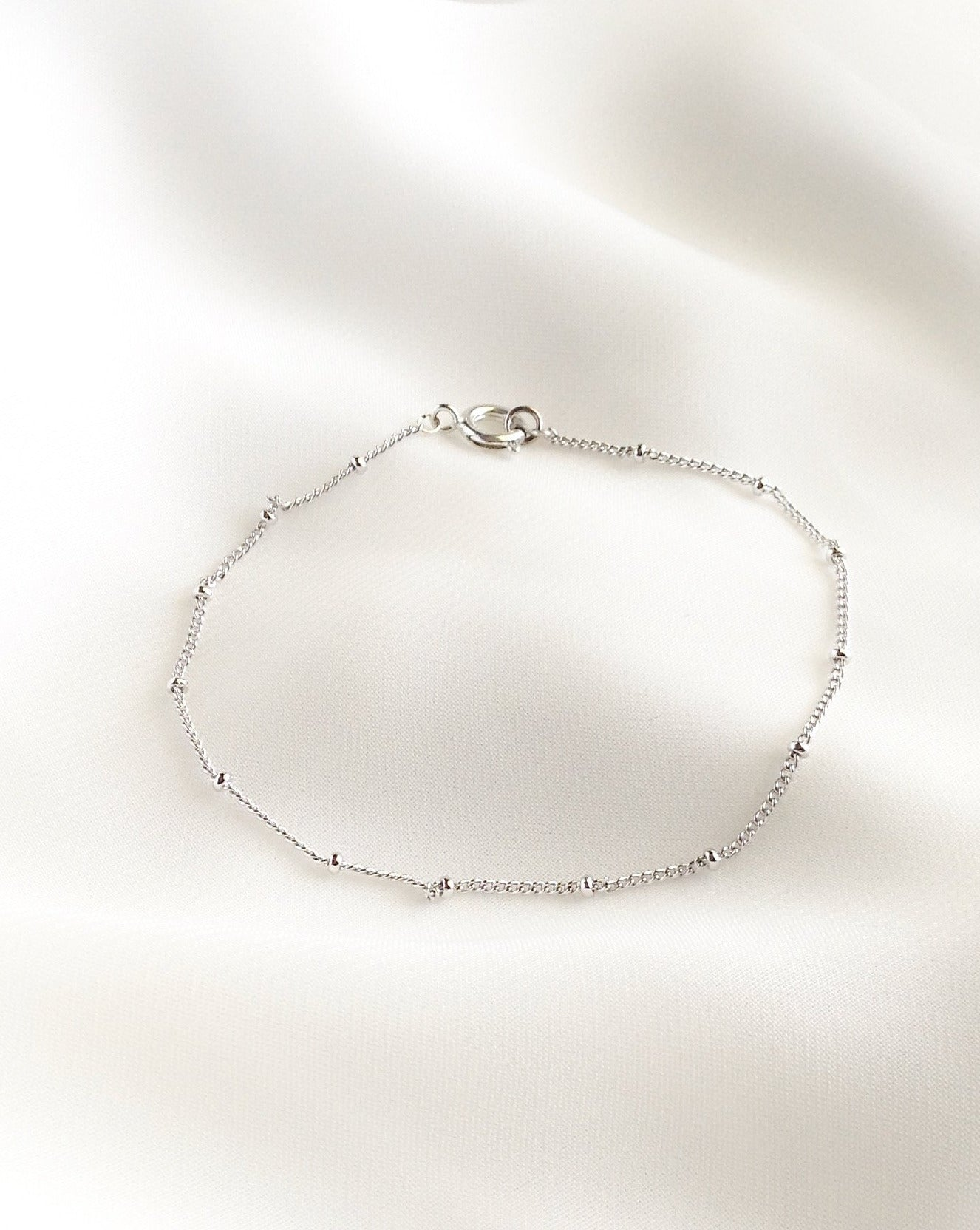 Dainty Tiny Beaded Thin Chain Bracelet in Gold Filled or Sterling Silver | Simple Elegant Bracelet | IB Jewelry