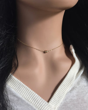 Dainty Gold Ball Necklace | Simple Tiny Ball Necklace | IB Jewelry