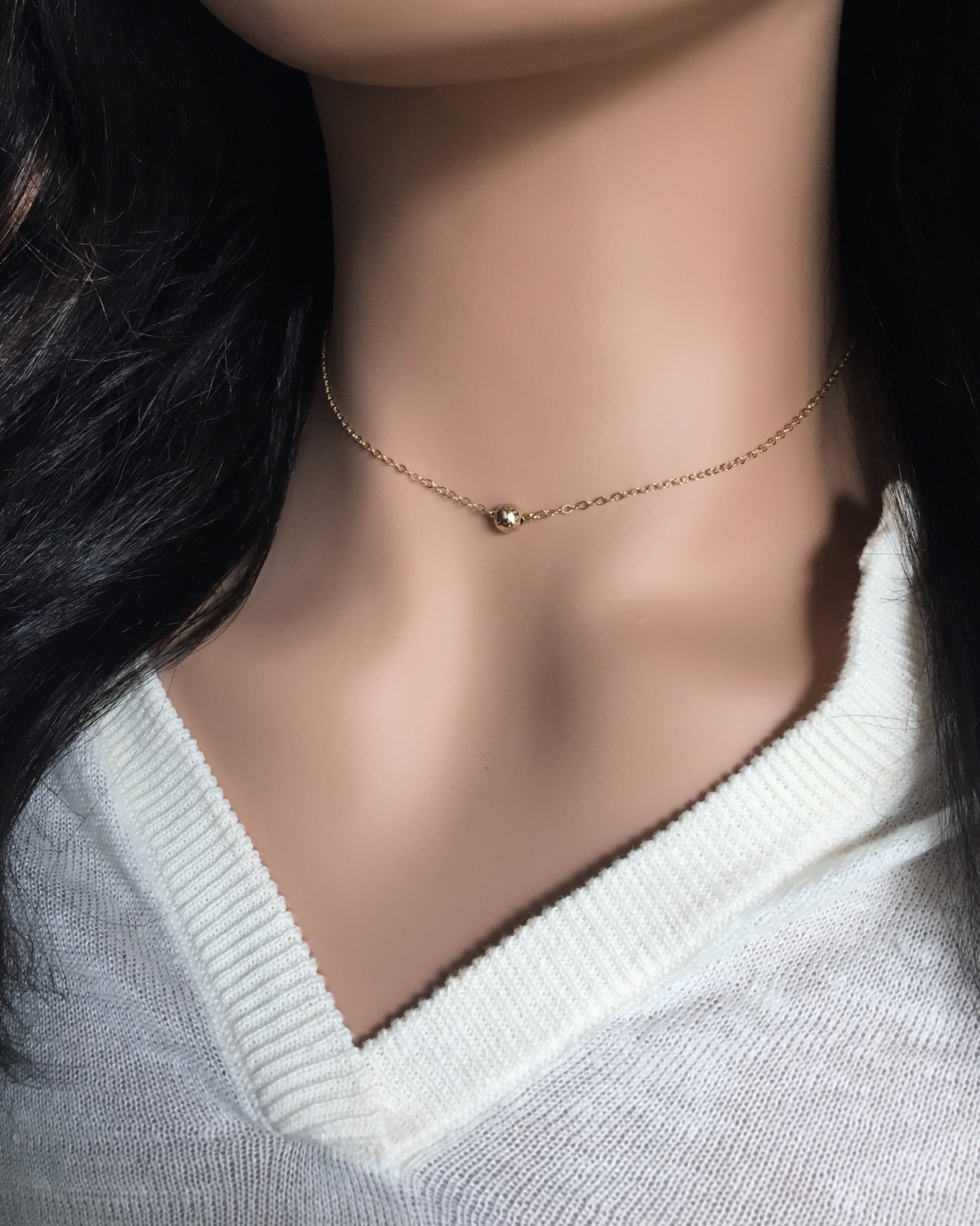 Simple Tiny Ball Necklace | Small Dainty Necklace | IB Jewelry