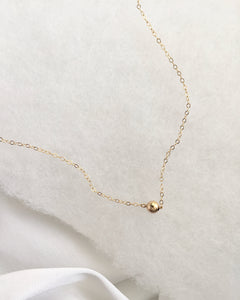 Tiny Gold Ball Necklace | Simple Delicate Short Chain Necklace | IB Jewelry