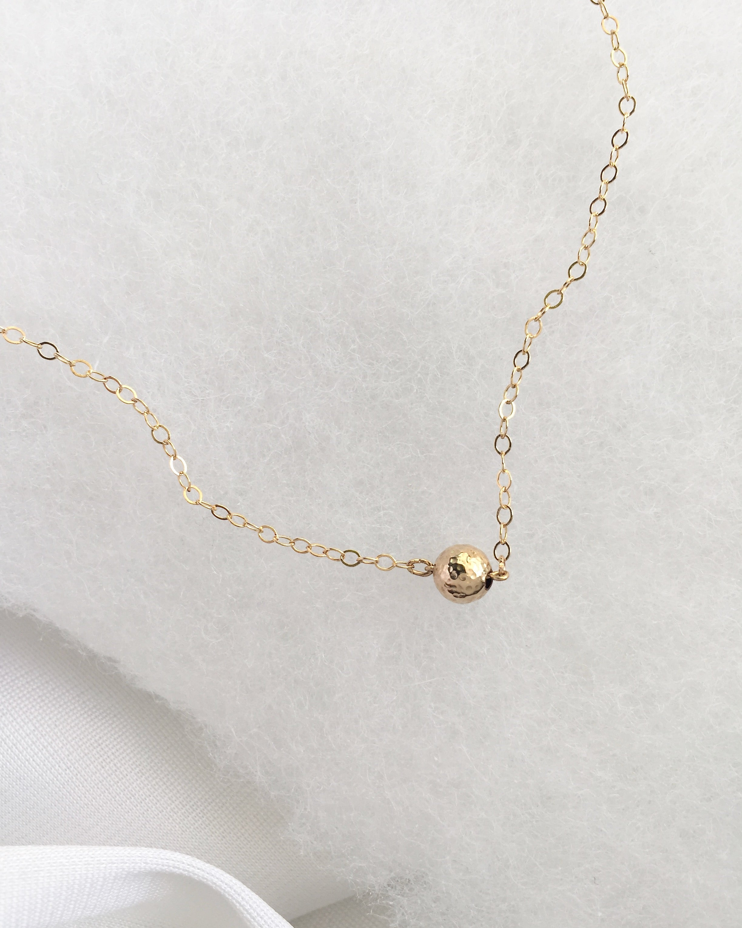 Simple Tiny Ball Necklace in Gold Filled or Sterling Silver | IB Jewelry