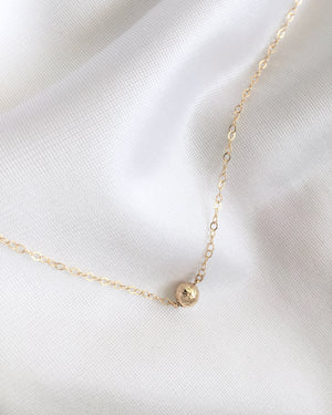 Delicate Gold Ball Necklace | Small Dainty Necklace | IB Jewelry