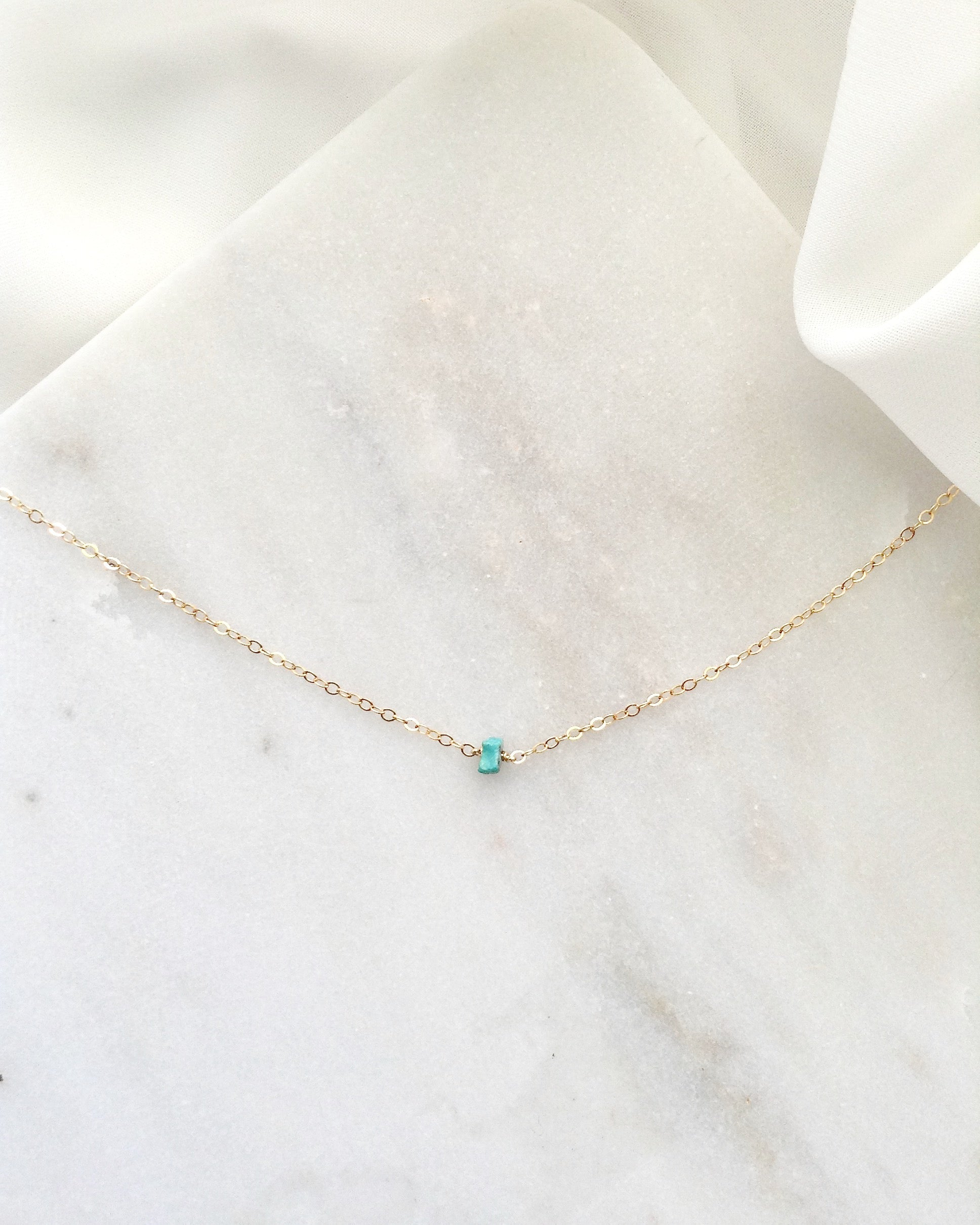 Simple Turquoise Choker Necklace | Dainty Chain Choker in Gold Filled or Sterling Silver | IB Jewelry