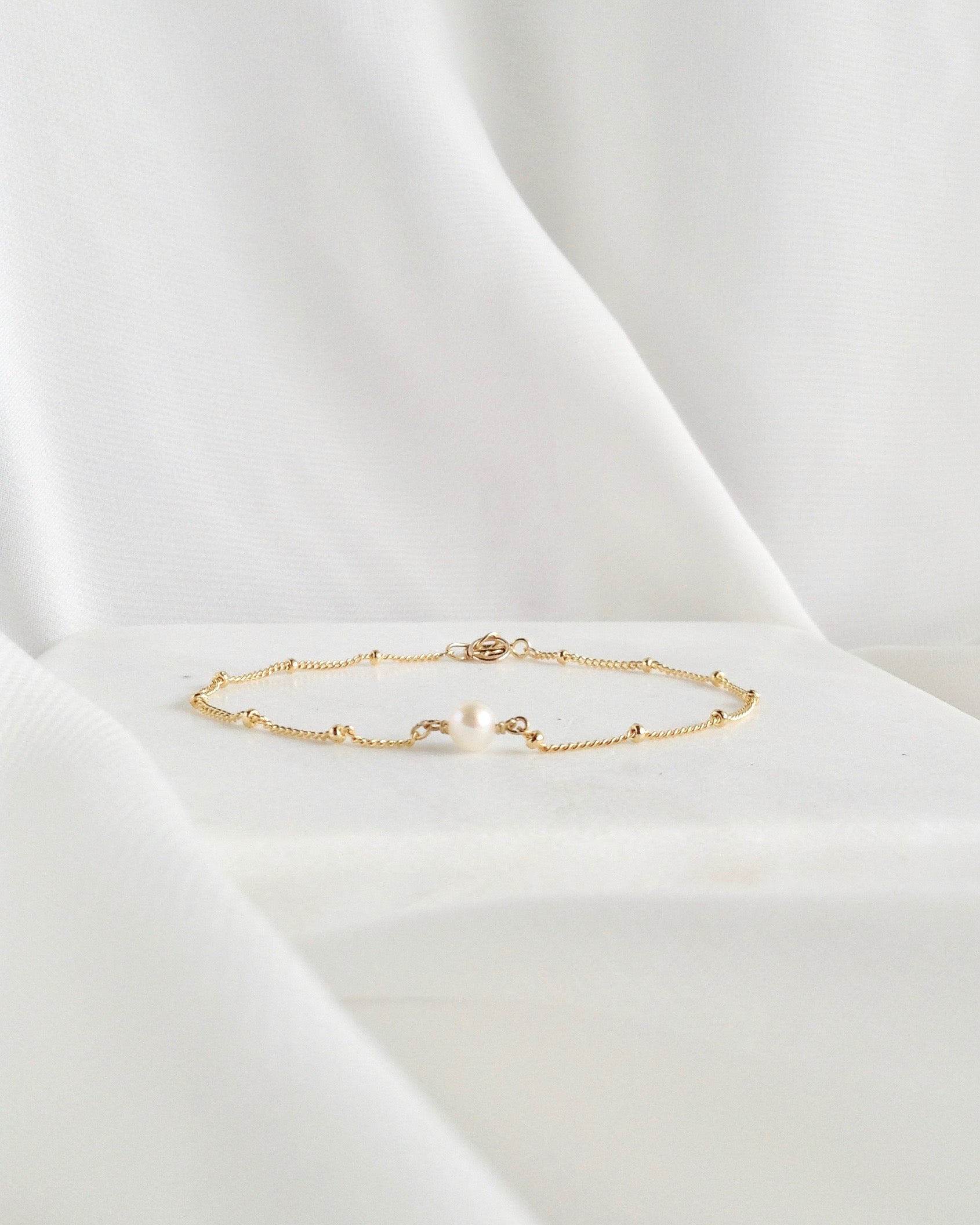 Dainty Pearl Bracelet In Gold Filled or Sterling Silver | IB Jewelry