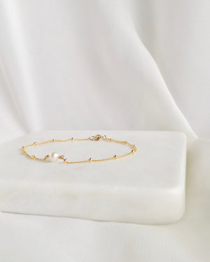 Minimalist Pearl Bracelet In Gold Filled or Sterling Silver | IB Jewelry
