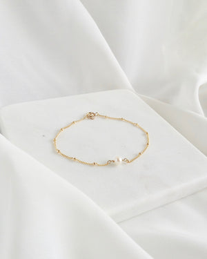 Floating Pearl Bracelet | Dainty Pearl Necklace | IB Jewelry