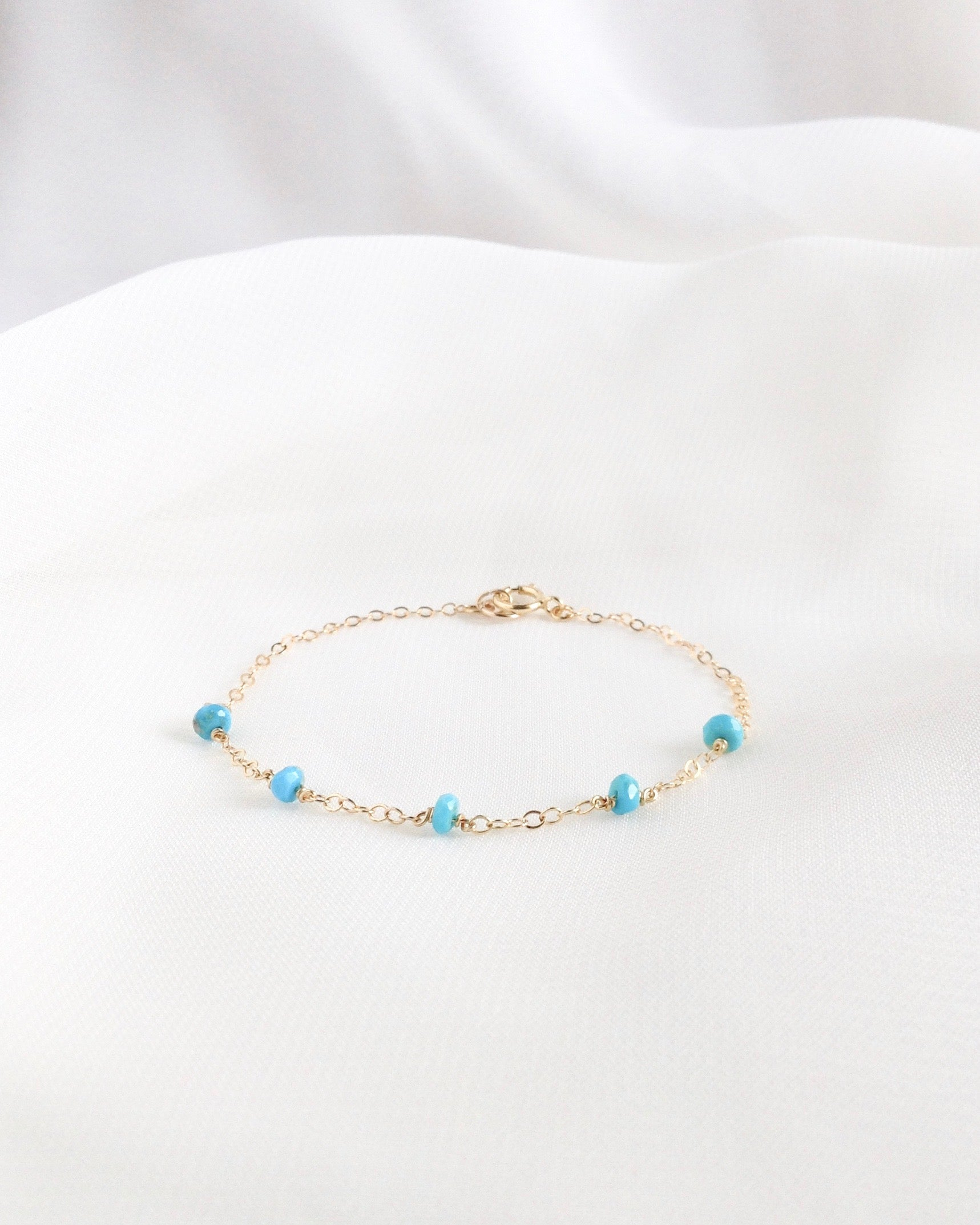 Sleeping Beauty Turquoise Bracelet in Gold Filled or Sterling Silver | IB Jewelry