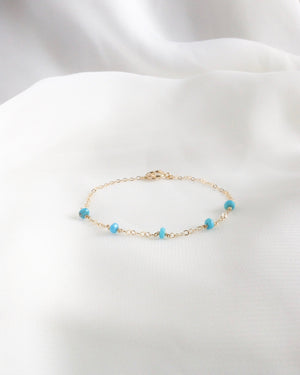 Sleeping Beauty Turquoise Delicate Thin Chain Bracelet in Gold Filled or Sterling Silver | IB Jewelry