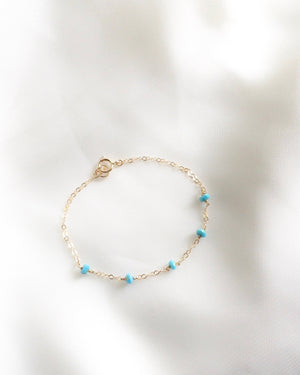 Genuine Turquoise Thin Chain Bracelet in Gold Filled or Sterling Silver | IB Jewelry