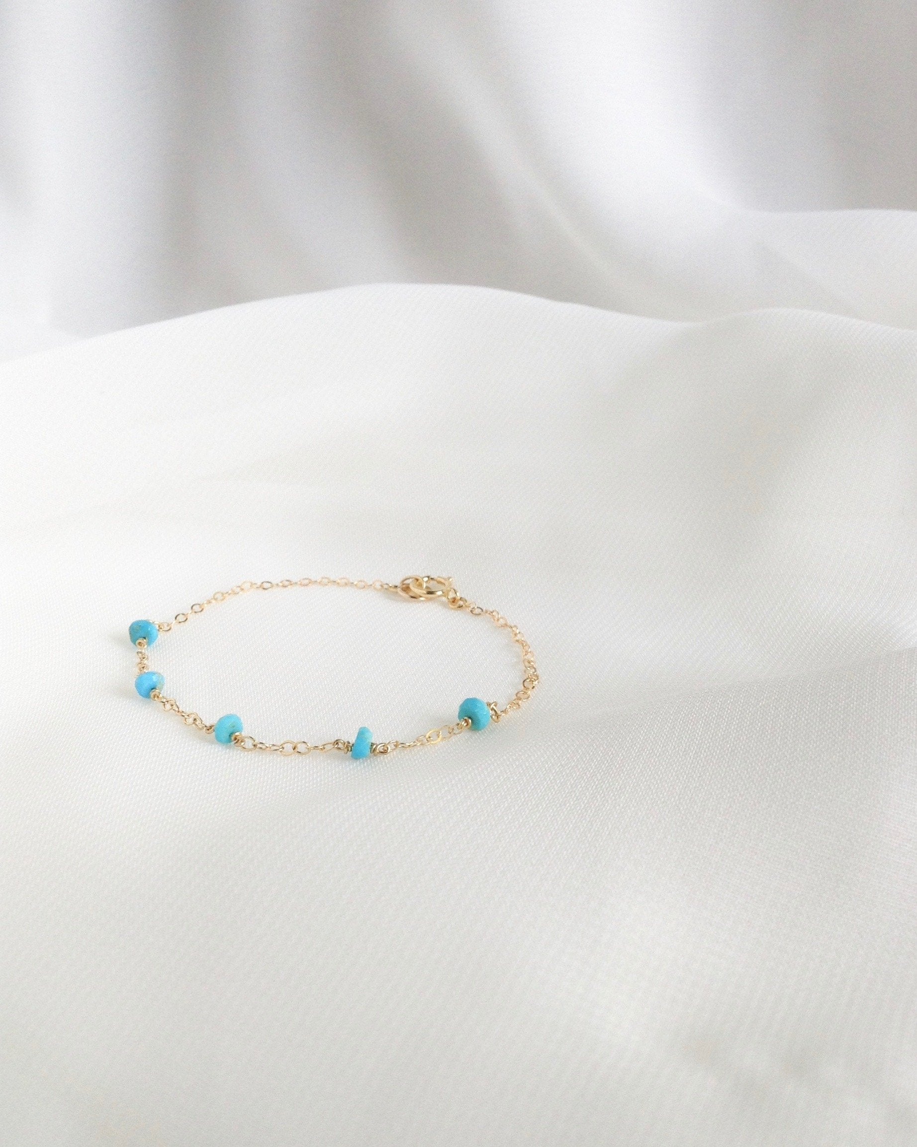Real Turquoise Minimal Thin Chain Everyday Bracelet | Dainty Bracelet | IB Jewelry