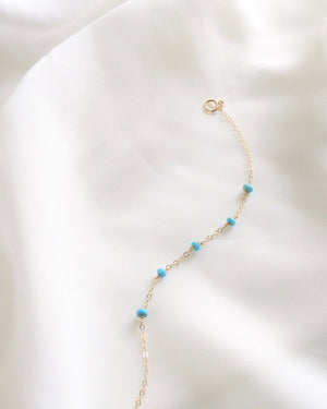 Sleeping Beauty Turquoise Dainty Chain Bracelet | Delicate Everyday Bracelet | IB Jewelry