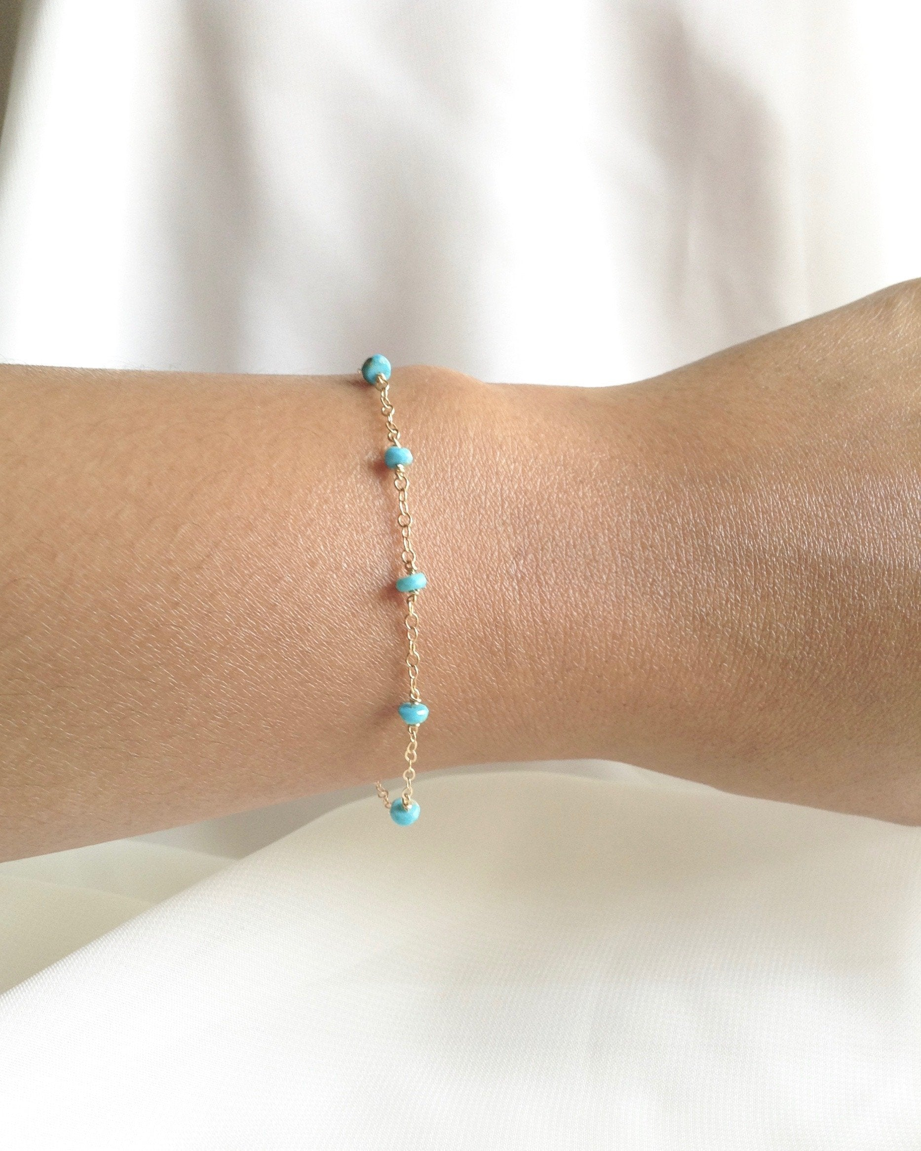 Sleeping Beauty Turquoise Simple Dainty Bracelet | Delicate Chain Bracelet | IB Jewelry