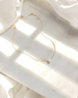 Small Dainty Single Pearl Necklace | IB Jewelry