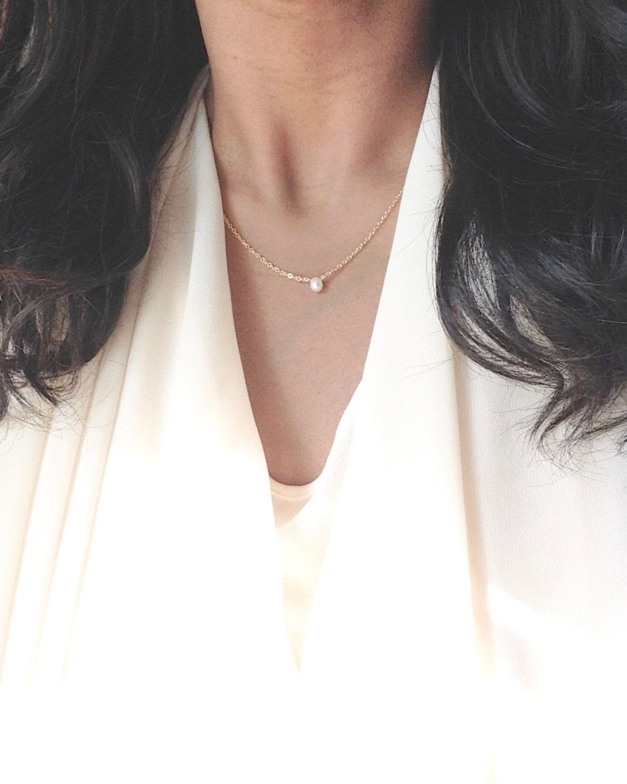 Delicate Pearl Necklace in Gold Filled or Sterling Silver | Dainty Short Necklace | IB Jewelry