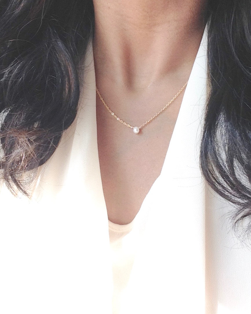 Small Single Freshwater Pearl Necklace in Gold Filled or Sterling Silver | IB Jewelry