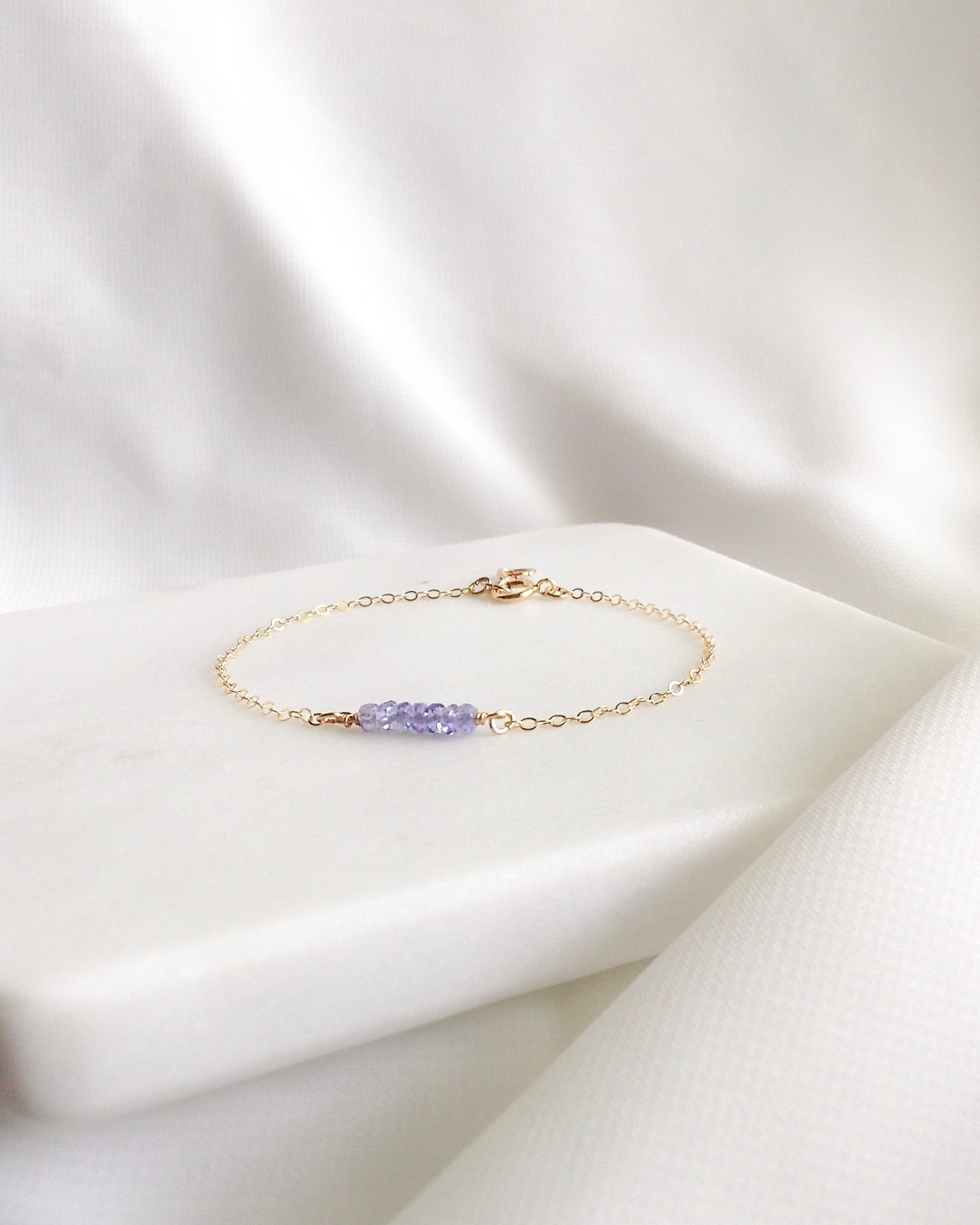 Tiny Tanzanite Bracelet In Gold Filled or Sterling Silver | IB Jewelry
