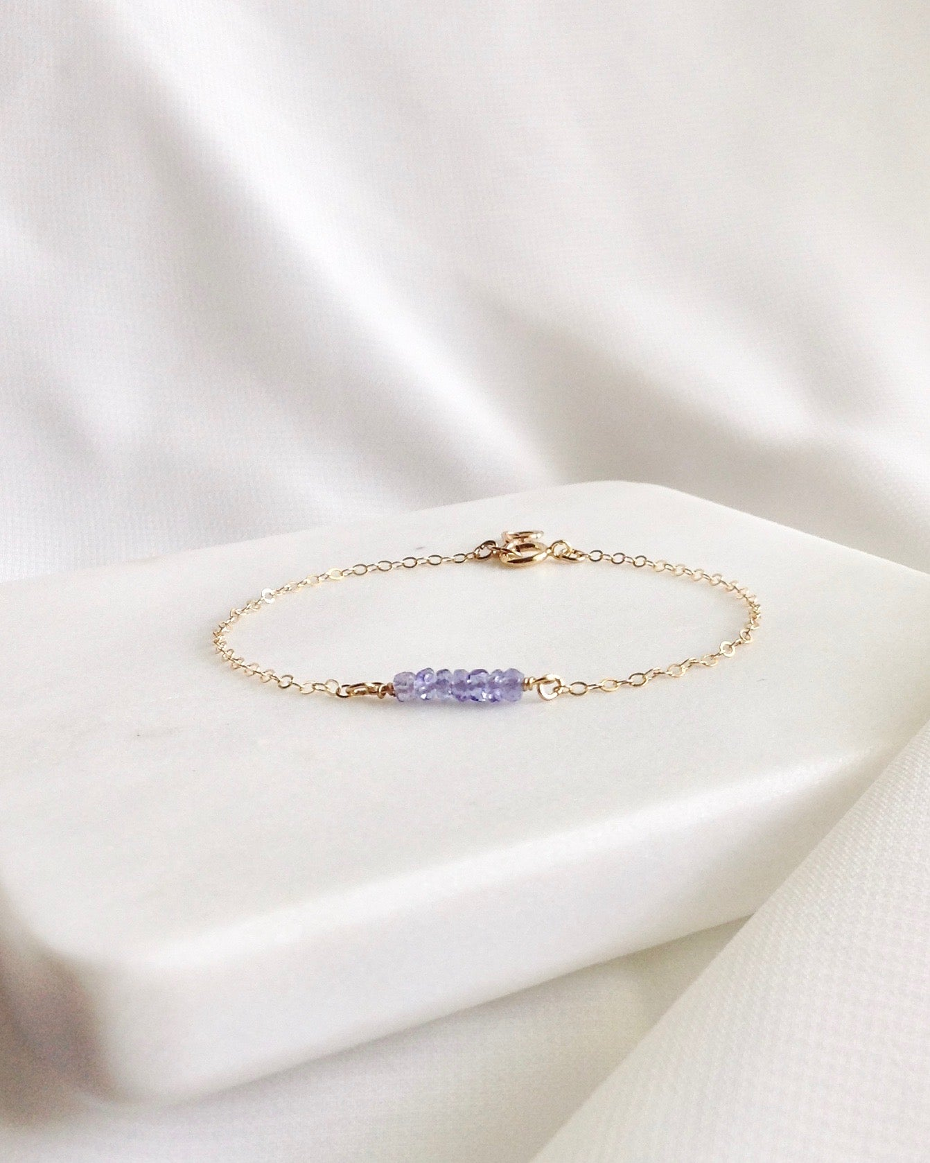 Tanzanite Dainty Gemstone Bracelet In Gold Filled or Sterling Silver | IB Jewelry