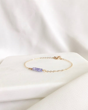 Tanzanite Delicate Gemstone Bracelet In Gold Filled or Sterling Silver | IB Jewelry