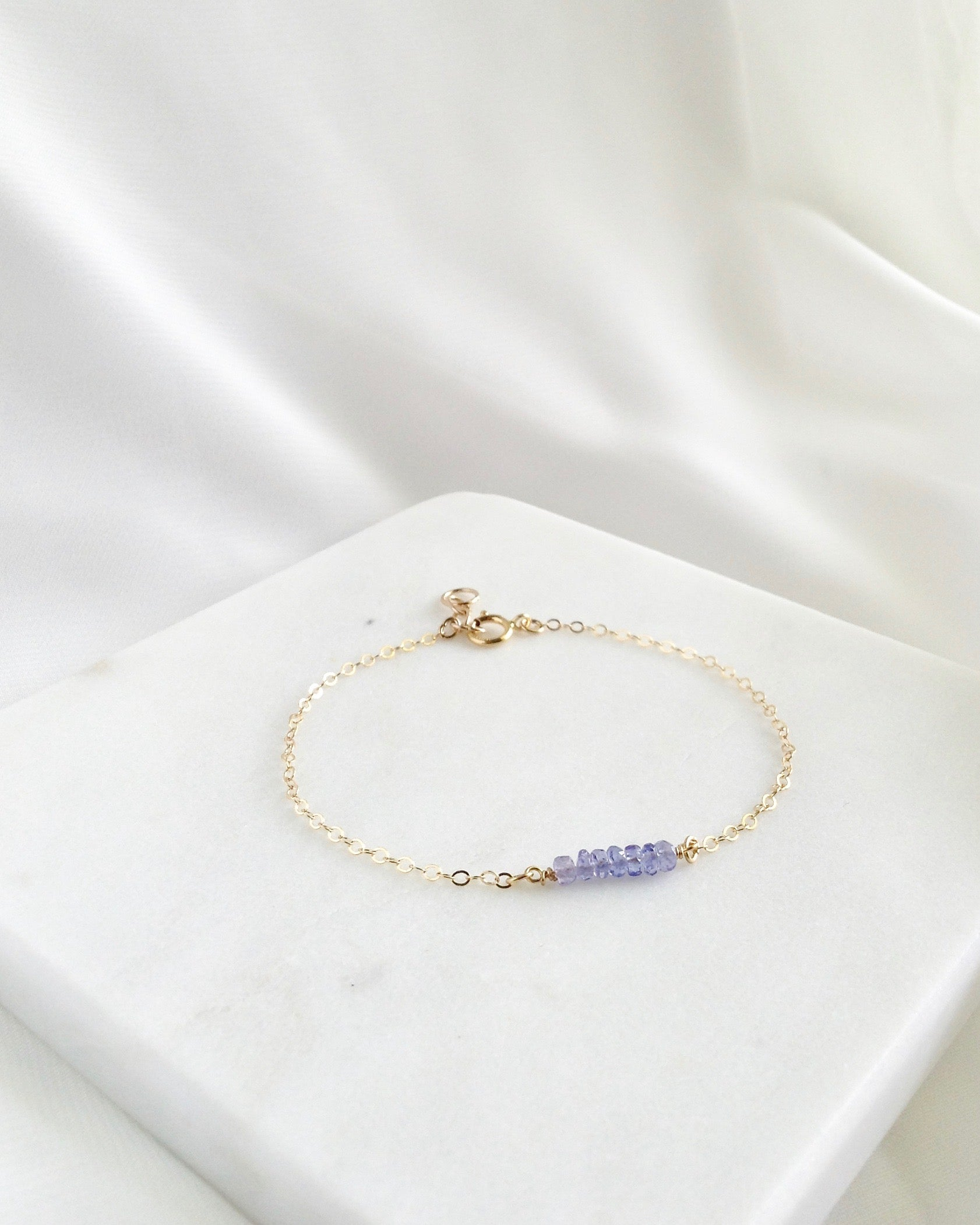 Simple Tanzanite Bracelet In Gold Filled or Sterling Silver | IB Jewelry