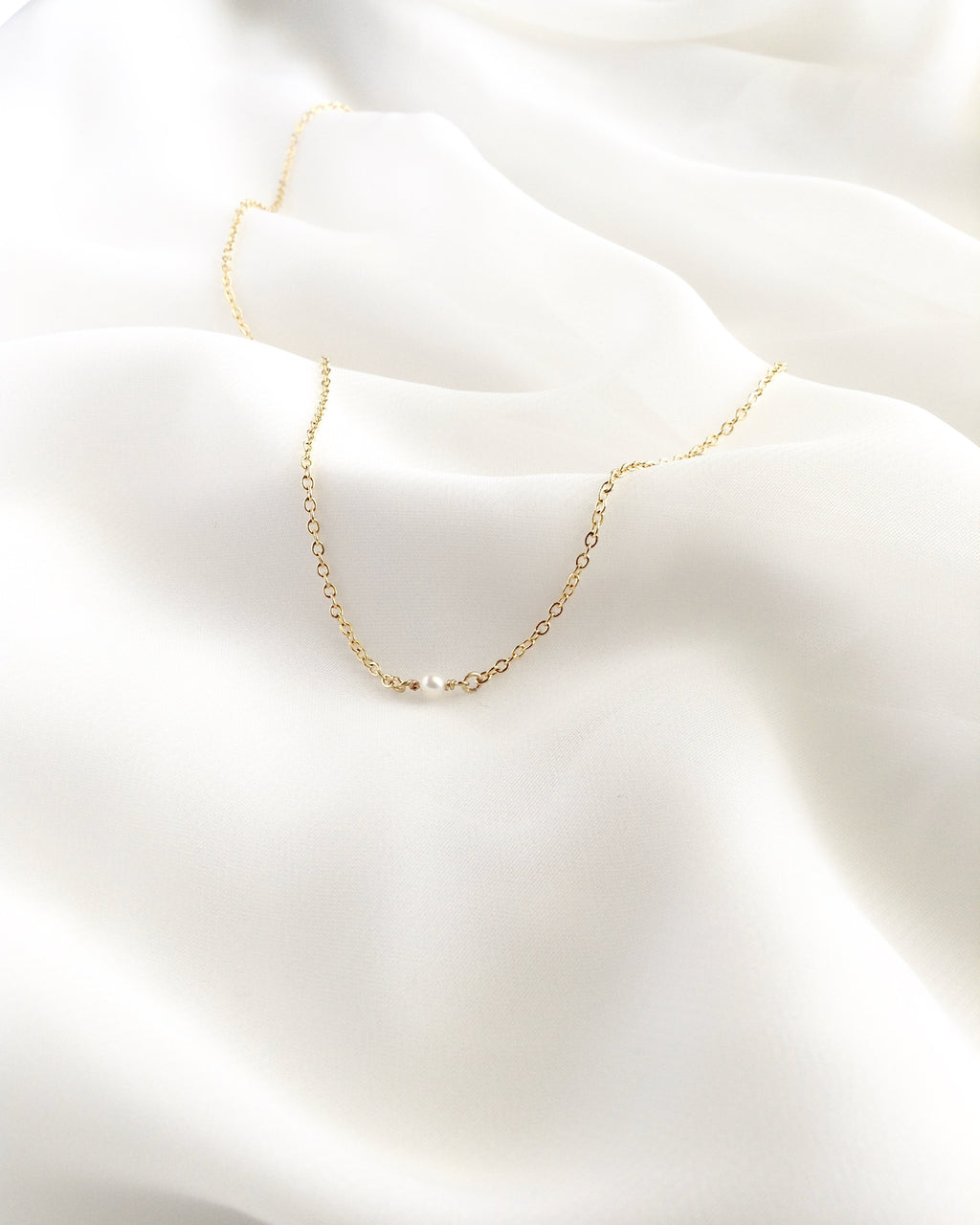 Tiny Minimalist Pearl Necklace | Simple Delicate Everyday Necklace | IB Jewelry