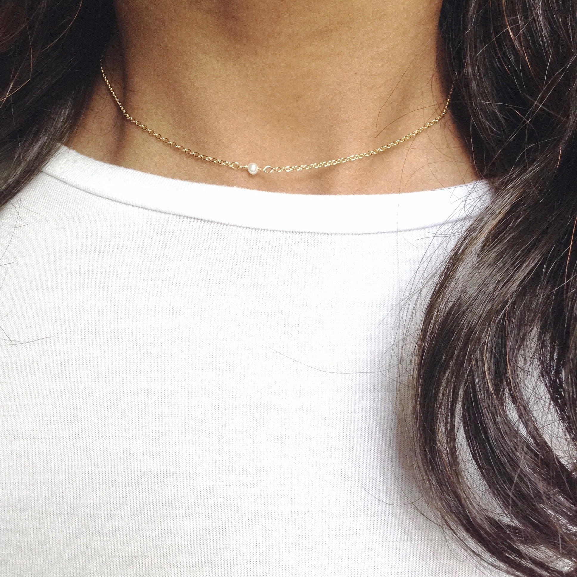 Tiny Minimalist Pearl Necklace | IB Jewelry