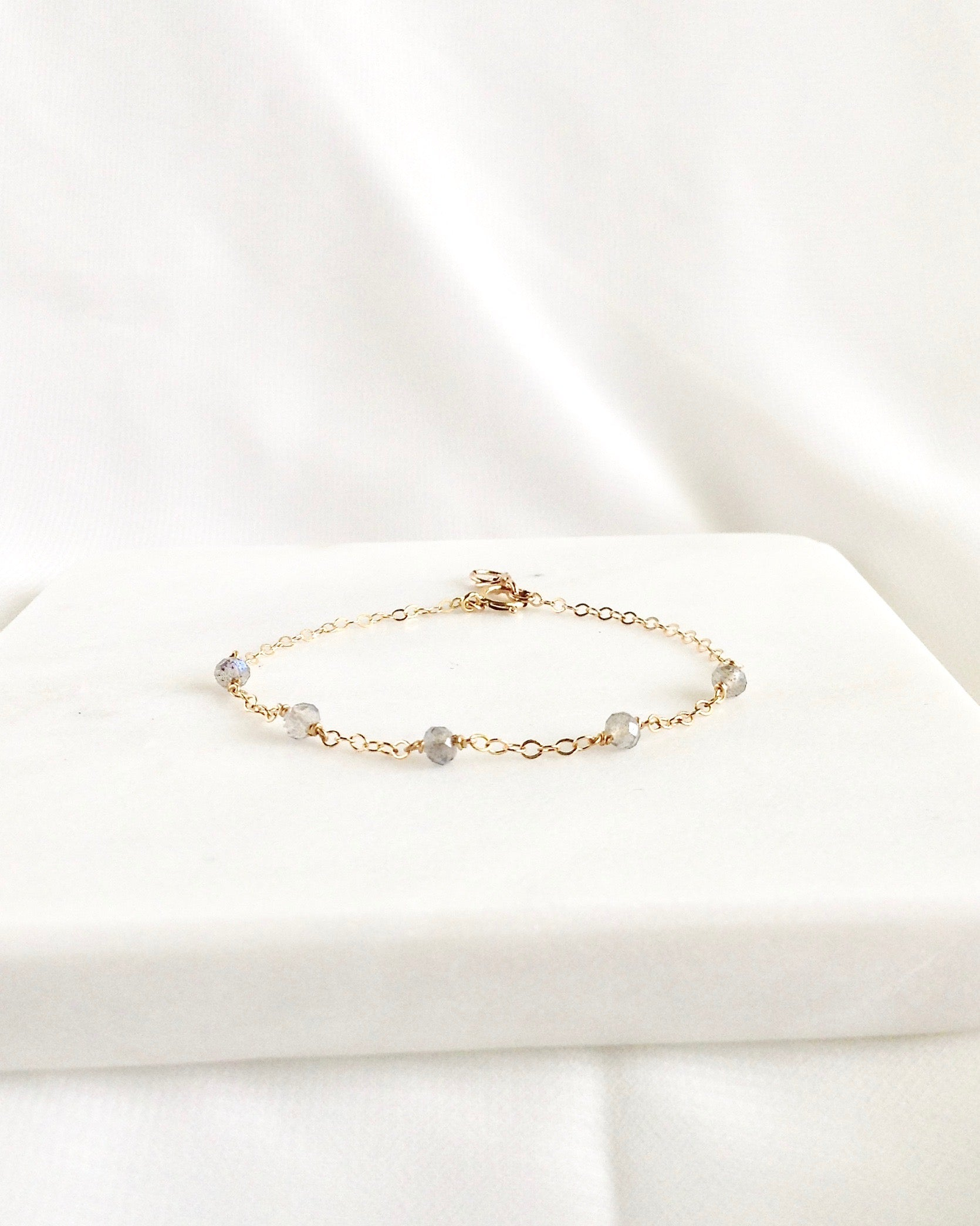 Labradorite Dainty Gemstone Bracelet in Gold Filled or Sterling Silver | IB Jewelry
